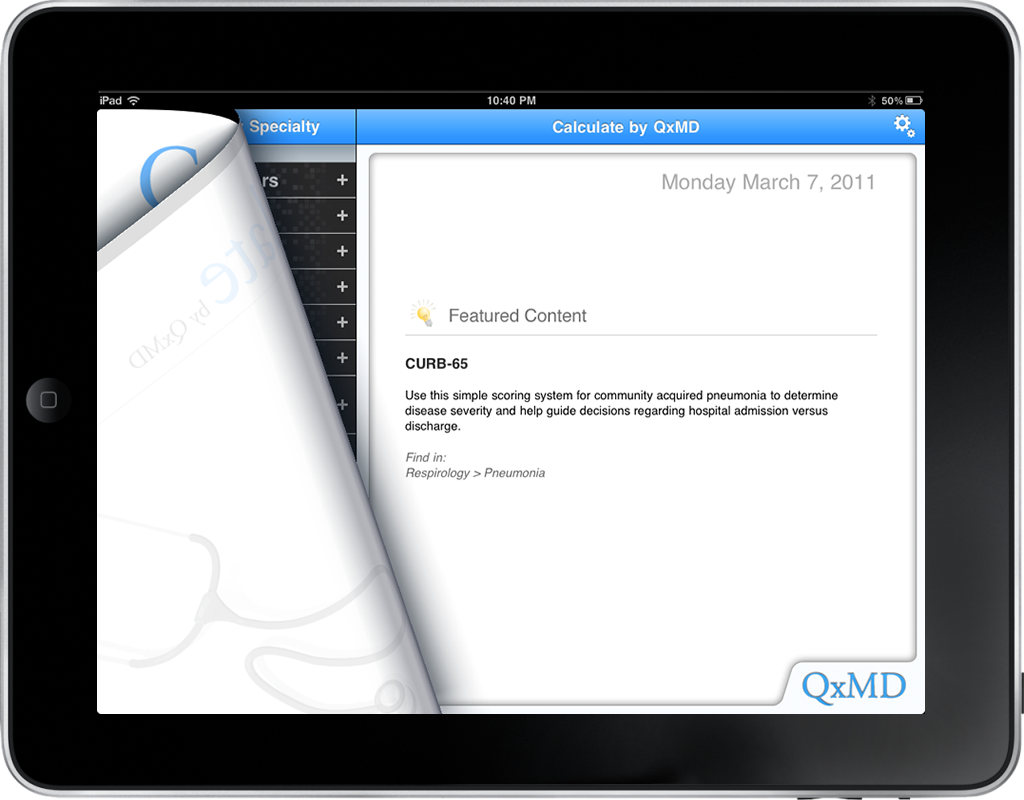 iPad Version, 'Calculate by QxMD'