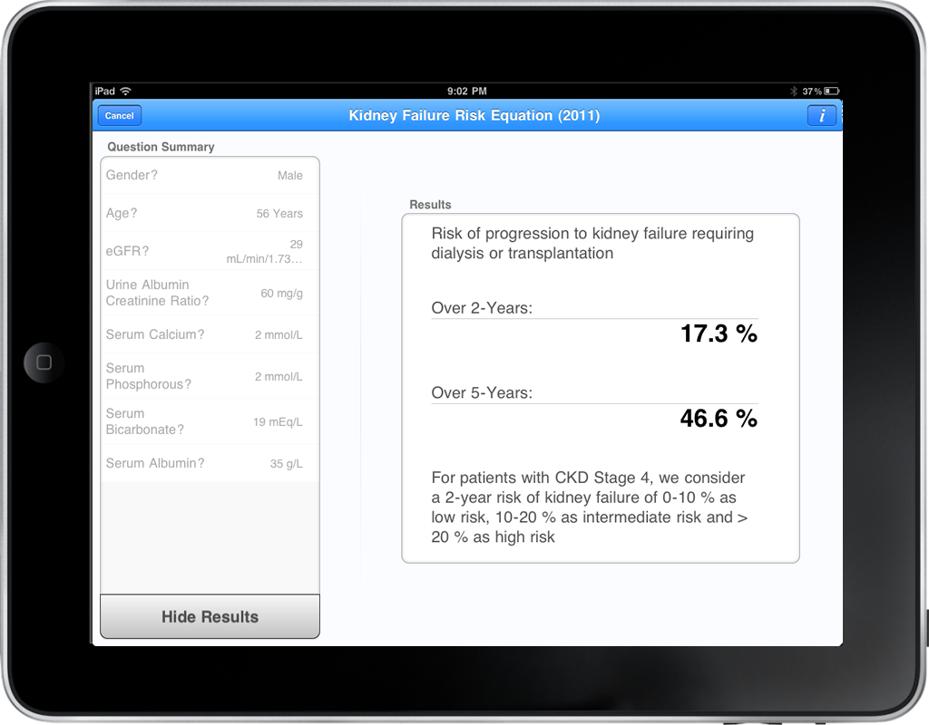 Kidney Failure Risk Equation in Calculate for iPad